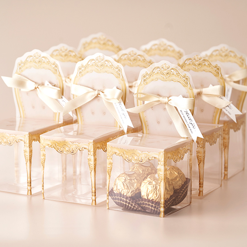50pcs Personalized Plastic PVC European Anniversary  Wedding Favors Chocolate Packaging Gifts Boxes Candy Box For Guests