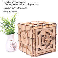 Mechanical 3D Wooden Puzzle Safe Kit Money Banks Wooden Brain Teaser IQ Game