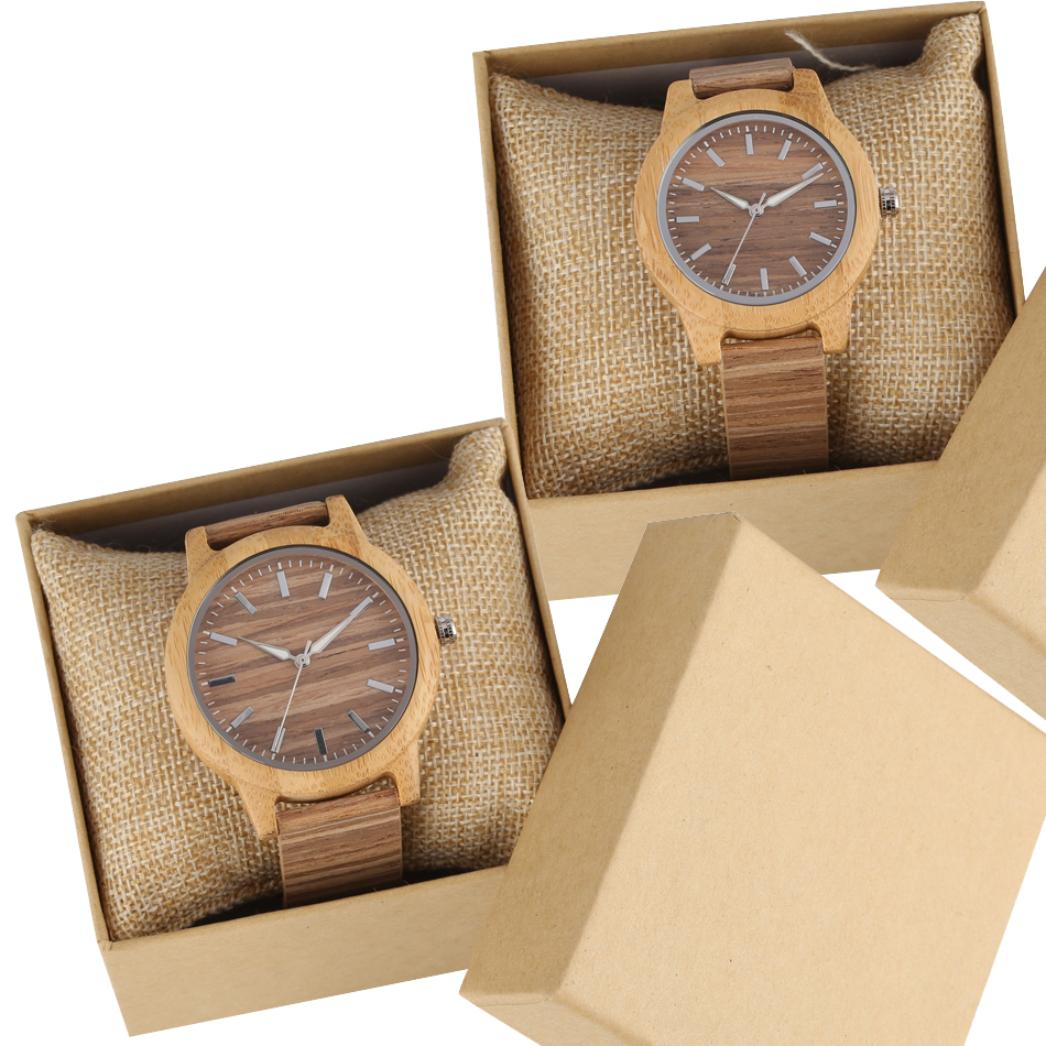 Couple Wood Watch Creative Corkwood Leather Quartz Wristwatch Lovers Watches Gifts