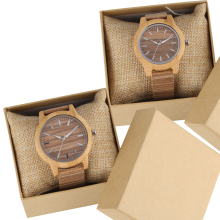 Couple Wood Watch Creative Corkwood Leather Quartz Wristwatch Lovers