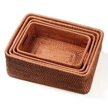 Cesta de armazenamento diy manual rattan cor primária simples portátil diversos alimentos chá prático casa cozinha artigos do agregado familiar