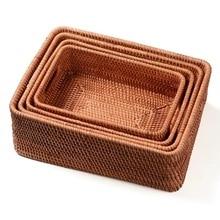 Корзина для хранения DIY ручной ротанговый основной цвет простой портативный разные продукты чай практичный дом