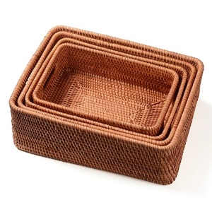 Image 1 - Storage basket DIY Manual Rattan primary color simple portable Miscellaneous food tea practical home kitchen Household items