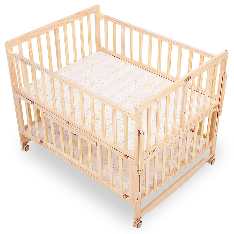 Rocking Twin Crib Solid Wood Lacquerless Large-size Multi-functional Cradle Bed Widening Double Baby BB Bed
