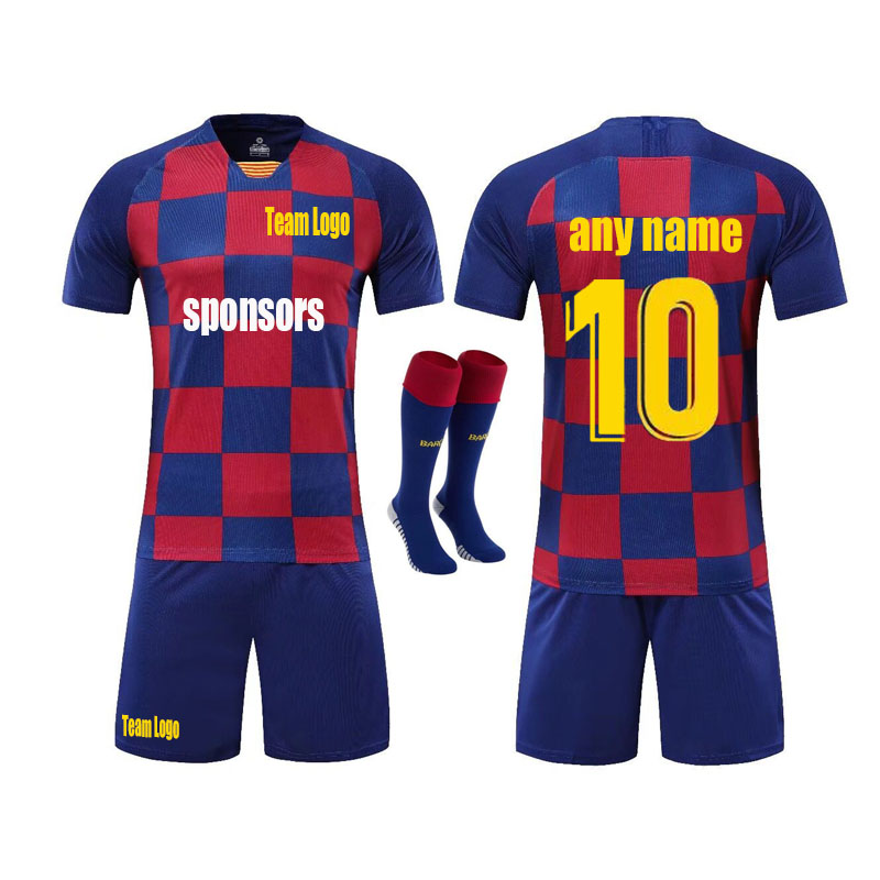 official photos 53df8 e4446 US $18.41 7% OFF|Barcelona shirt messi Jersey football suit men's champions  league children's football suit sport suit-in T-Shirts from Men's Clothing  ...