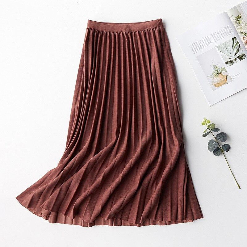 2020 Spring Women Pleated Skirt High Waist Women A-Line Midi Skirts Saia Women Pink Skirts Faldas Jupe Femme