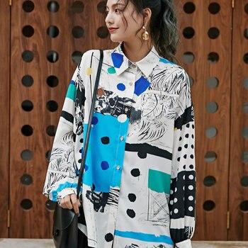 Europe marée Hit couleur impression Dot Blouse femmes vêtements 2020 nouvelle personnalité coréen Match tout ample chemise décontracté haut à la mode Y2836
