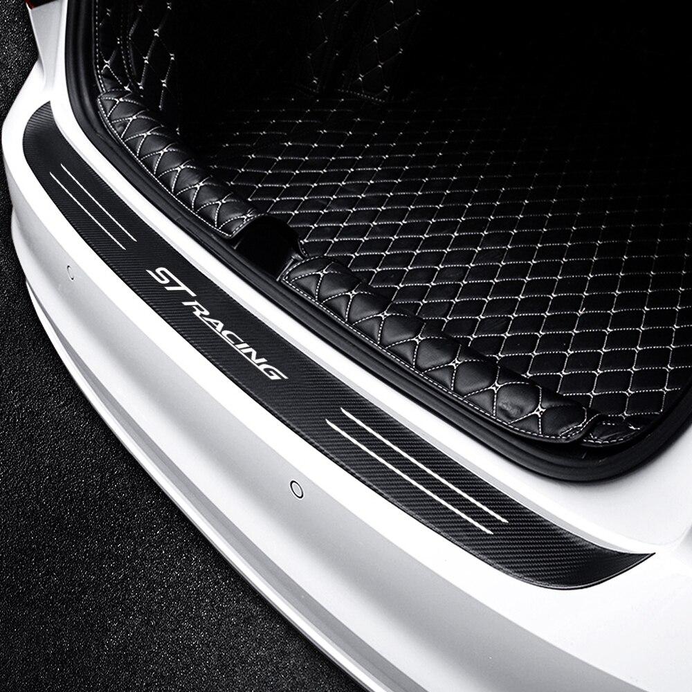 Car Trunk Rear Guard Bumper Plate ST RACING LOGO Emblem Sticker For Ford Focus 2 MK2 3 4 MK3 MK4 Decoration Accessories
