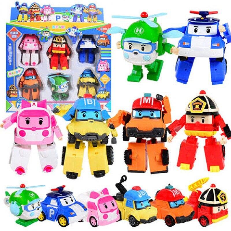 Автомобиль 6 шт./компл. поли, детские игрушки, робот-трансформер, мультяшная игрушка, экшн-фигурка, трансформирующее транспортное средство, п...
