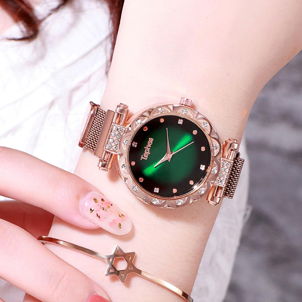 Tephea Brand Women Magnet Buckle Gradient Color Watch Starry Sky Diamond Watch Luxury Ladies Stainless Steel Quartz Watch Clock