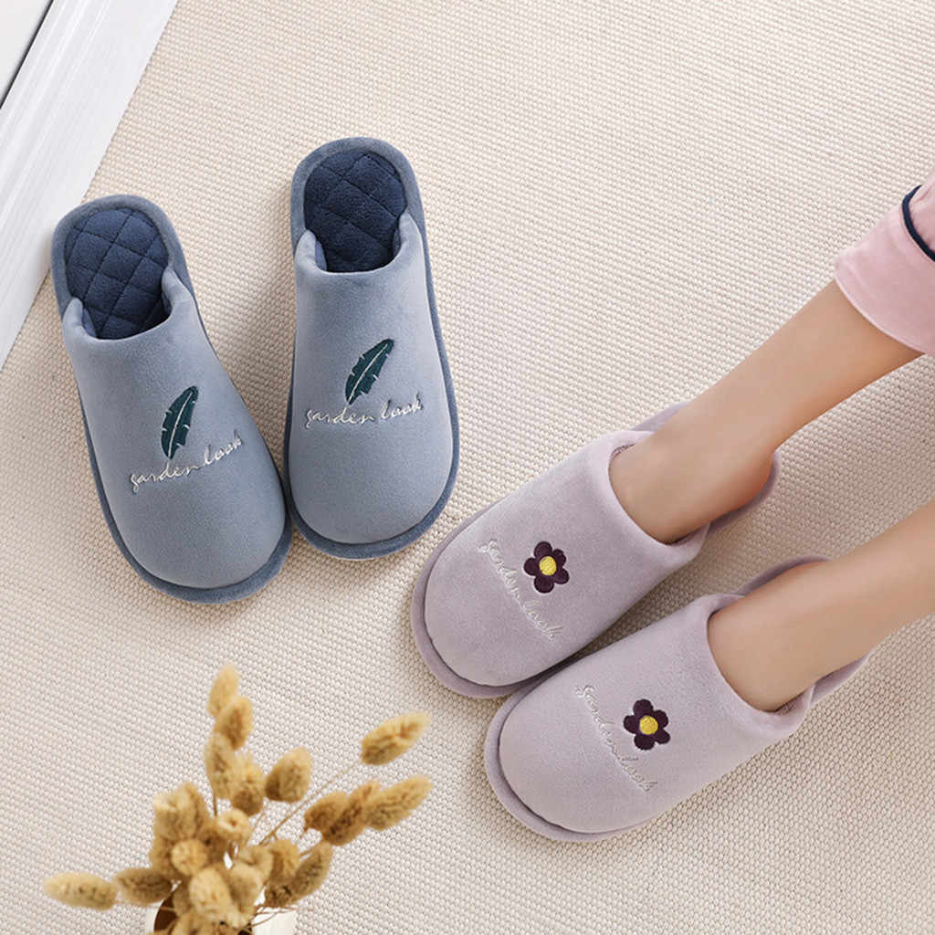 Shoes Woman Couples Floral Warm Slipper Non-slip Cotton Fabric Floor Home Bedroom Winter Slippers Indoor Shoes chaussures femme