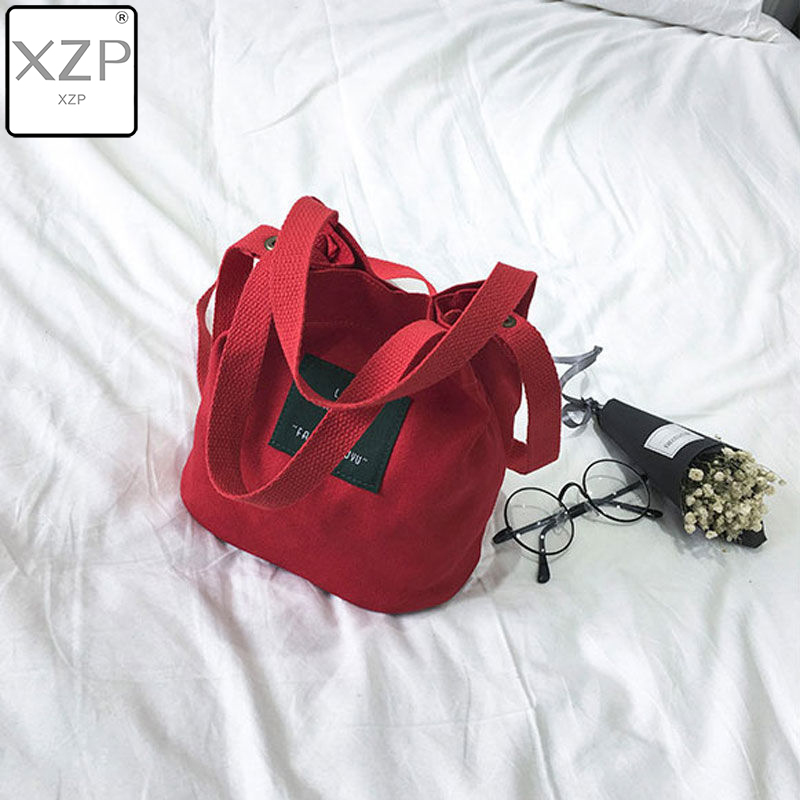 XZP Fashion Casual Fresh Art Girl Cosmetic Canvas Clutch Lady's Tote Shopping Handbag Small Bags Solid Shoulder Bags For Girls