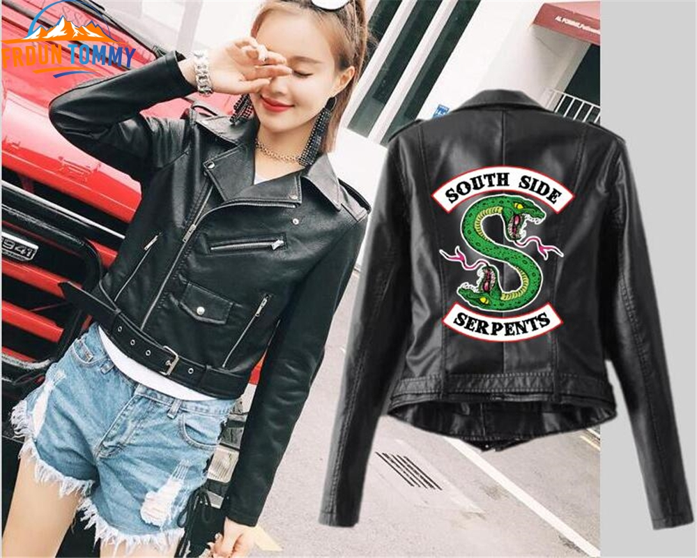 Riverdale Printing Women PU Leather Jacket Fashion Motorcycle Jacket Short Southside Serpents Artificial Leather Riverdale Coat