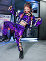Jazz Costume Girls Purple Sequin Hip Hop Set Street Dance Performance Clothing Stage Dancing Wear Flared Sleeve Clothes DC1006