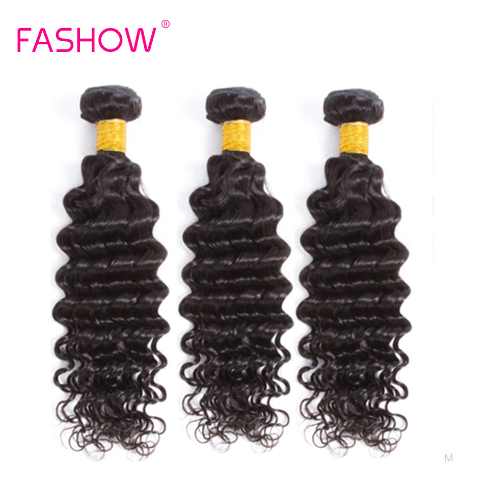 Fashow Indian Deep Wave Hair 3 Pieces Bundles Weave 100% Human Hair Natural Black Color Remy Hair Extension For Black Women