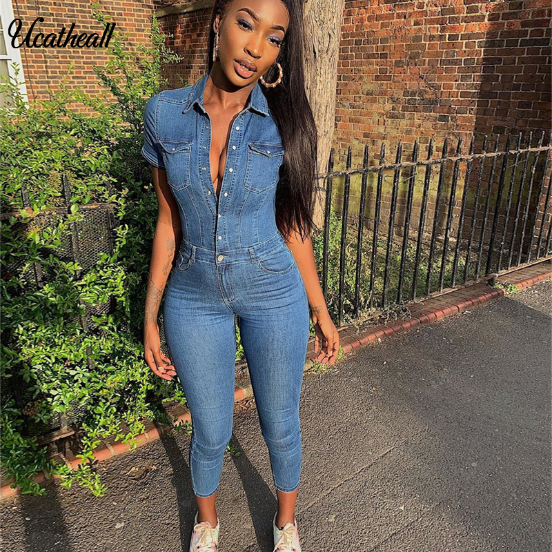 Single Buttons Sexy Denim Jumpsuit Short Women Rompers Pocket Bodycon Summer Jeans Overalls Casual Fashion Party Club  Playsuit