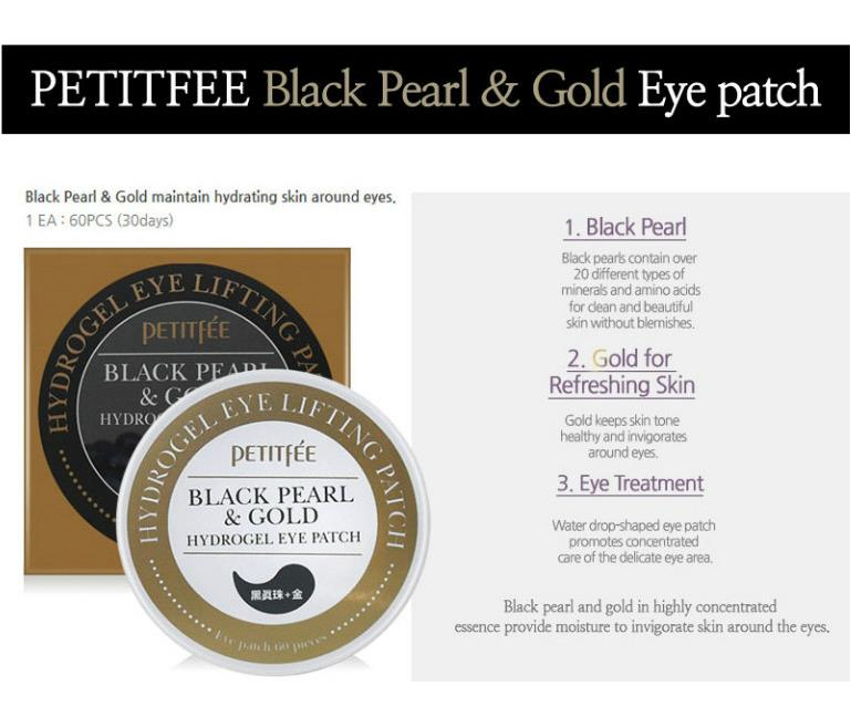 PETITFEE Black Pearl Gold Hydrogel Eye Patch 60 pcs Eye Mask Ageless Sleep Mask Eye Patches Dark Circles Face Care Mask 2