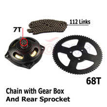 Mini Moto 47cc 49cc Drive System 25H  Chain 112 Links with Gear Box And Rear Sprocket Fit Mini Moto Pocket Bike