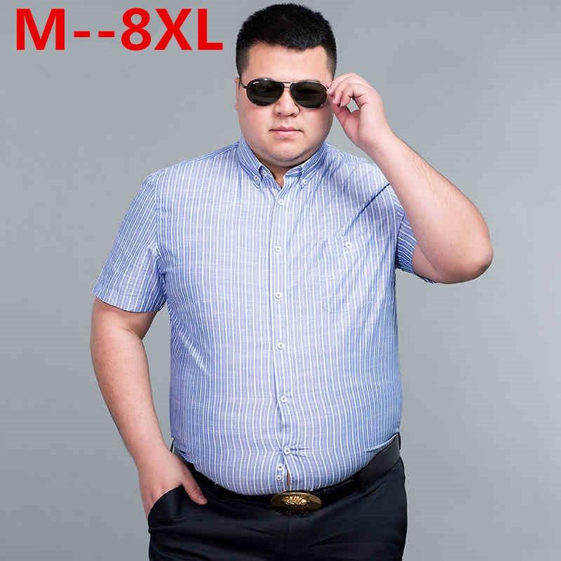 10XL 9XL 8XL 6XL 5XL Loose Fit Striped Shirt Short Sleeve Camisas Para Hombre Soft Cotton Shirt Chemise Homme 's Casual Shirt