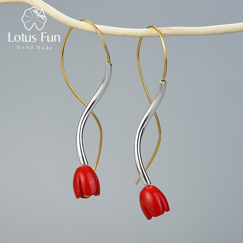 Lotus Fun Real 925 Sterling Silver Handmade Designer Fine Jewelry Ethnic Style Red Rose Flower Dangle Earrings For Women Gift