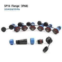 Alta qualidade ip68 sp16 à prova dwaterproof água conector tomada 2 3 4 5 6 7 8 9 pinos fio cabo conector 2 buraco flange tipo de soquete avia