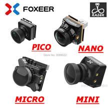 Foxeer mini câmera razer 4:3 fpv, mini/razer nano 1200tvl pal/ntsc comutável, câmera para fpv 16:9 fpv corrida de drone versão atualizada