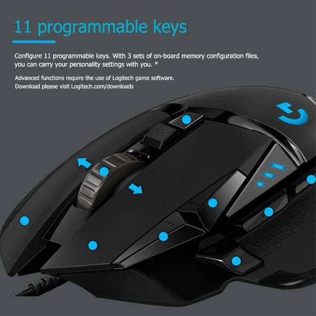 Logitech G502 Hero Gaming Mouse 16000DPI RGB Backlight Programmable Mouse Professional gaming Mice for PUBG LOL Desktop Laptop 4