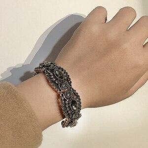 Kienl Charm Gray Crystal Flower Bangle Gold Plating Vintage Cuff Open Bracelets For Women Fashion Turkish Jewelry 2020 New