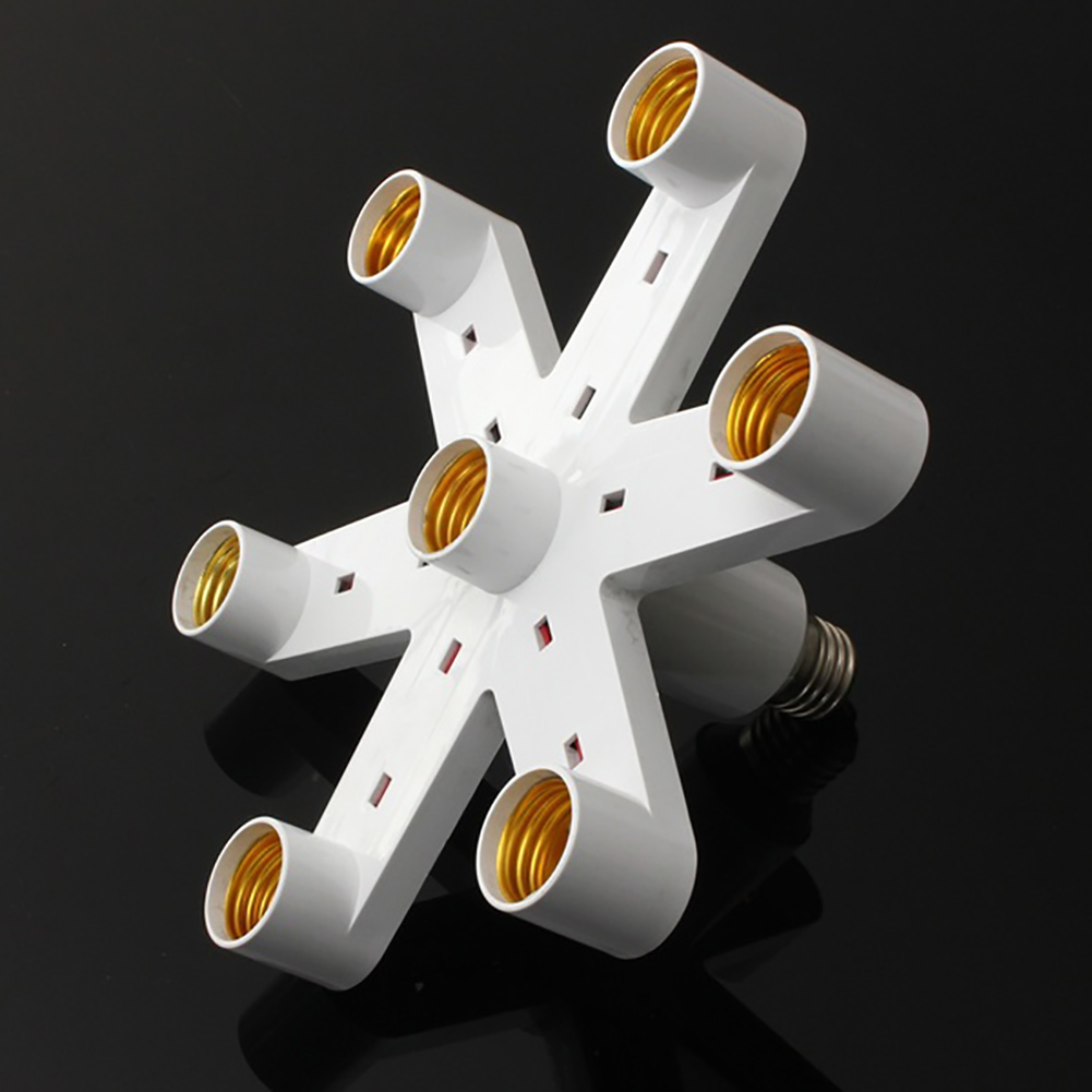 7 In 1 E27 Base Socket 110V-240V Lamp Socket Splitter Light Lamp Bulb Adapter Holder Photo Video Studio