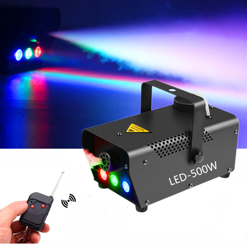 High Quality Wireless Remote Control 500W Smoke Machine/Mini LED Fog Machine/Smoke Ejector/Stage Fogger With RGB 3X3W LED Light