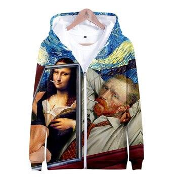 Mona Lisa Van Gogh clothing sweatshirt Art shirt Oil painting  Women aesthetic Hoodie Zipper Sweatshirt warm Gothic jeanne kalogridis painting mona lisa