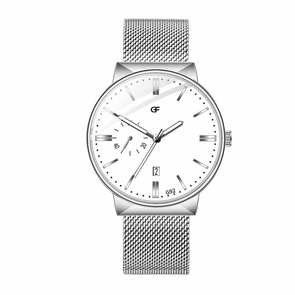 Reloj de moda negro de acero para Hombre Erkek Kol Saati informal de negocios con fecha de lujo de 2019