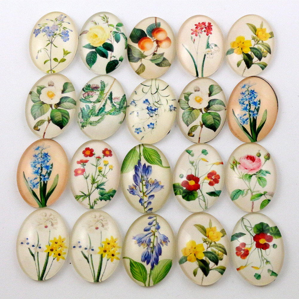 10pcs 18x25mm  Mixed Handmade Photo Glass Cabochons (I6-27)