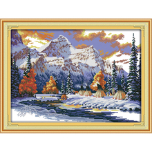 Everlasting love The snow of winter Chinese cross stitch kits Ecological cotton stamped 11CT Christmas New store sales promotion everlasting love the beach path among the flowers chinese cross stitch kits ecological cotton stamped 11 ct new sales promotion