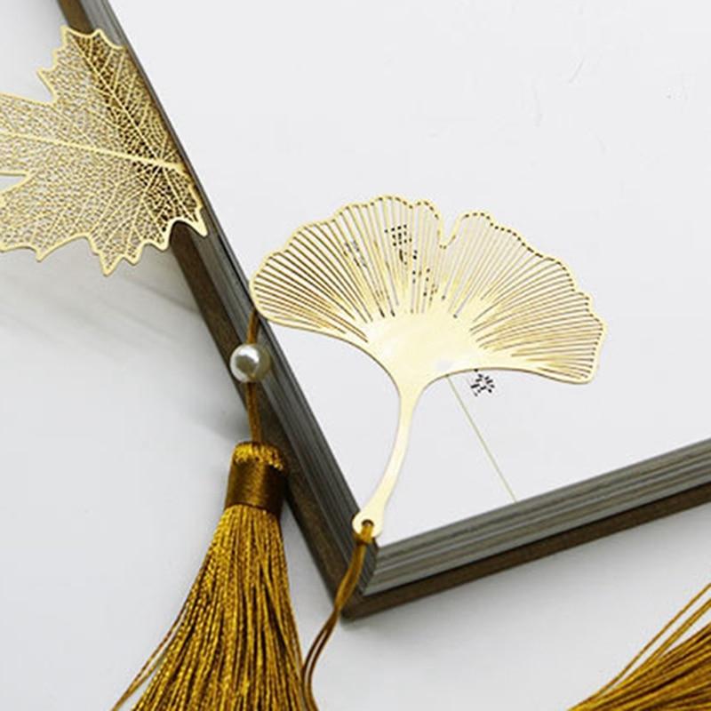 Vintage Ethnic Tasseled Leaf Bookmarks Literature Art Students Supplies Metal Brass Leaf Bookmarks Gifts