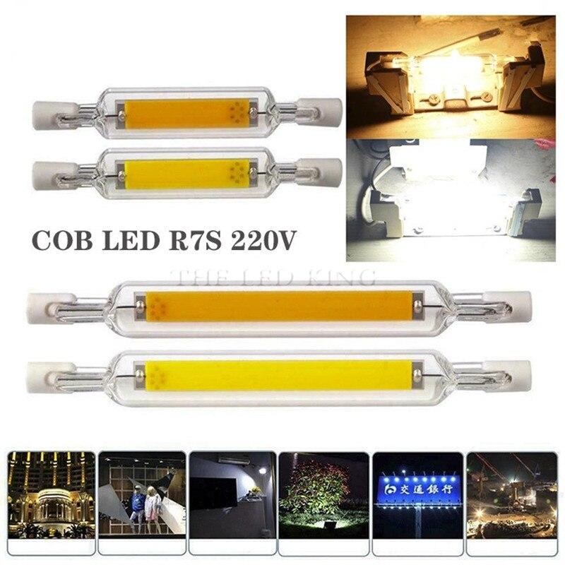 Nova alta poderosa r7s 78mm 15w 20 r7s spotlight 118mm 30w 40 220v pode ser escurecido cob lâmpada de vidro tubo substituir lâmpada de halogênio luz