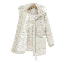 Осень и зима, корейский стиль, стиль, матовый и толстый теплый пуховик средней длины с капюшоном из овечьей шерсти для женщин