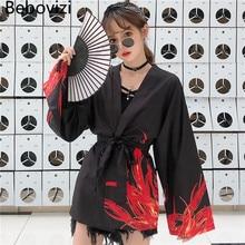 Bebovizi – Cardigan imprimé Harajuku pour hommes et femmes, Kimono, Style japonais, Harajuku, Yukata, Streetwear traditionnel