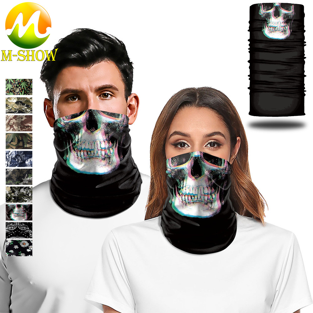 3D Skull Neck Gaiter Sports Seamless Face Towel Halloween Carnival Magic Turban Neck Scarf Camouflage Cycling Headband For Adult
