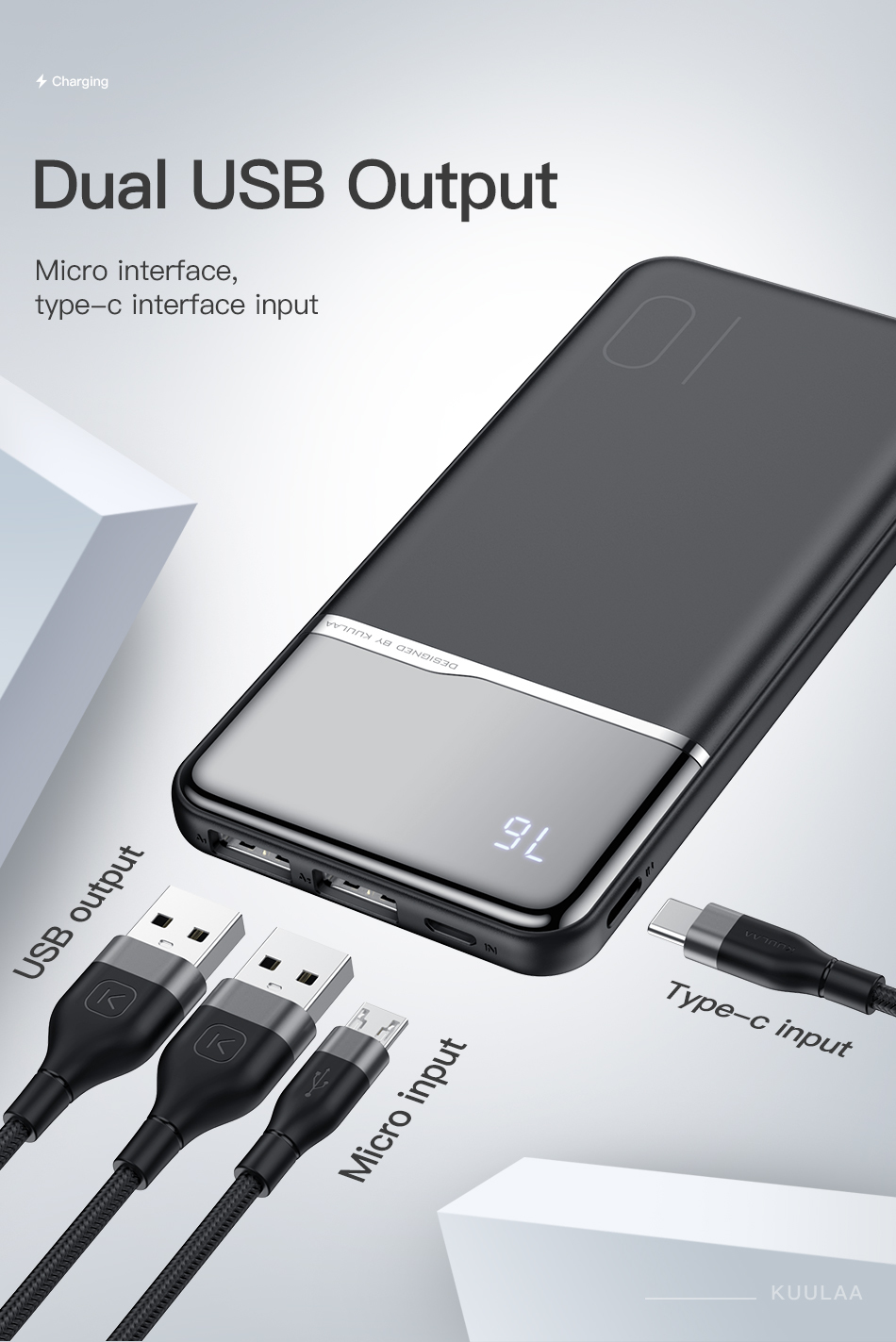 KUULAA Power Bank 10000mAh Portable Charging PowerBank 10000 mAh USB PoverBank External Battery Charger For Xiaomi Mi 9 8 iPhone 4