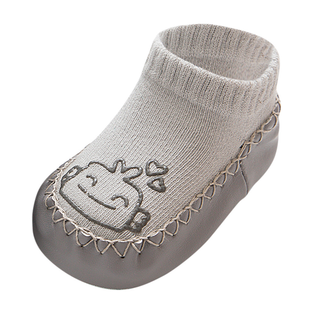 Милые теплые носки-тапочки с героями мультфильмов для новорожденных мальчиков и девочек Нескользящие носки для малышей гетры, детские гольфы, зимние носки для малышей - Цвет: B