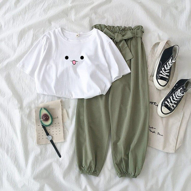 Summer Two Piece Set Female Cute Printed Tracksuit Fashion Casual High Waist Bandage Green Pants Suits Women Plus Size Outfits 2