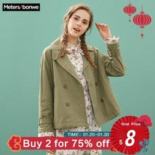 Metersbonwe 2019 Fashion Short Trench Female Windbreaker Coat Women Autumn Casua