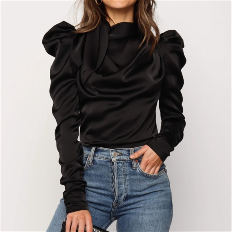 2019 New Autumn Women Ladies Tops Solid Bow Puff Sleeve Blouses Arrival Sexy Slim Ruffle Shirts OL Casual Top Clothes Blouse