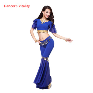 Image 1 - คริสตัลใหม่ผ้าฝ้ายและชีฟองBelly DanceชุดTopลำโพงกางเกงผู้หญิงBelly Danceชุดสีเซ็กซี่ชุดเต้นรำ