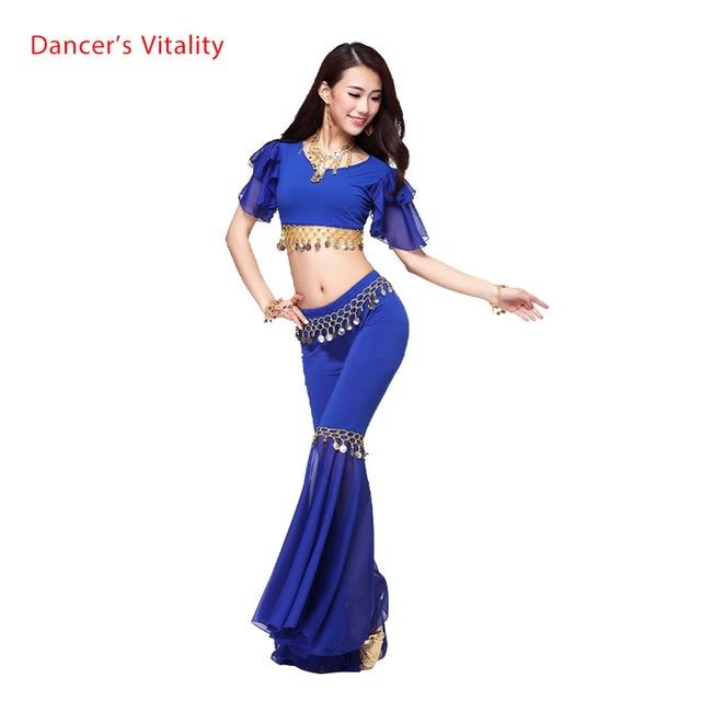 คริสตัลใหม่ผ้าฝ้ายและชีฟองBelly DanceชุดTopลำโพงกางเกงผู้หญิงBelly Danceชุดสีเซ็กซี่ชุดเต้นรำ