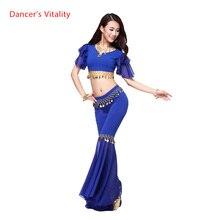 Costume de danse en coton cristal et mousseline de soie, nouveau haut parleur, pantalon pour femmes, ensemble de couleurs de danse du ventre, sexy