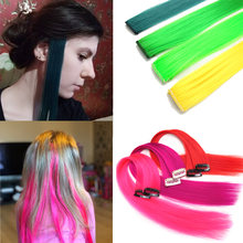 Синтетические заколки цвета радуги для наращивания волос 1 шт