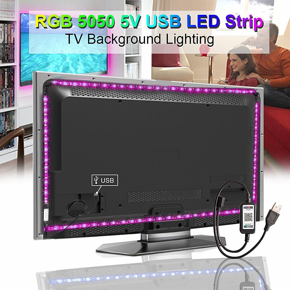 H3ba99086f62c41e0a7fb5256e37e689bs RGB Tape Bluetooth USB LED Strip TV Background Flexible Neon Ribbon tira Lamp 5V 0.5M SMD 5050 RF Controller LED RGB Strip Light
