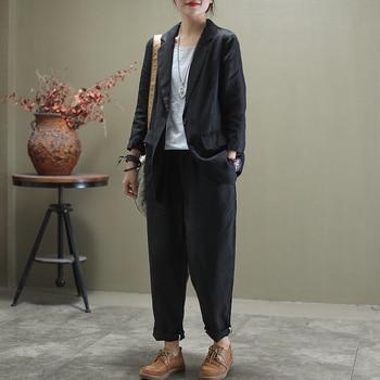 Summer Autumn Soft Linen Pants Suits For Women Woman Thin All Match Sets Female Solid Colors Jacket+pants 2piece Set